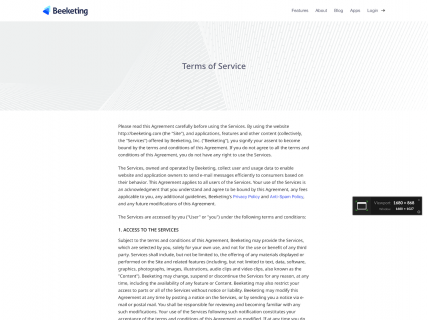 Screenshot of the Terms of Service page from the Beeketing website.