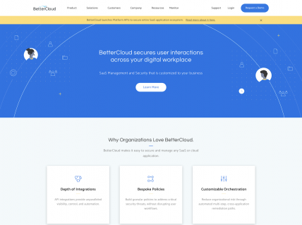 Screenshot of the Home page from the Better Cloud website.
