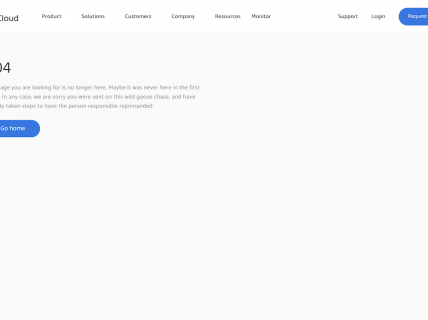 Screenshot of the 404 page from the Better Cloud website.