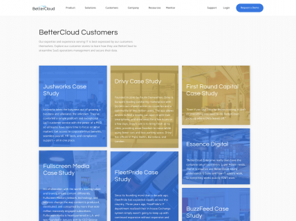 Screenshot of the Customers page from the Better Cloud website.