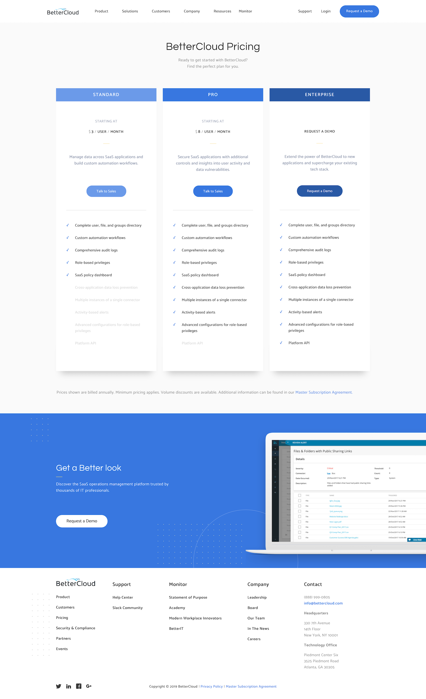 Screenshot of the Pricing page from the Better Cloud website.