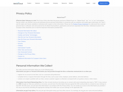 Screenshot of the Privacy Policy page from the Better Cloud website.
