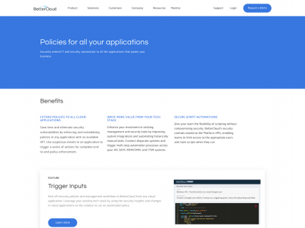 Screenshot of the Product – Extend page from the Better Cloud website.