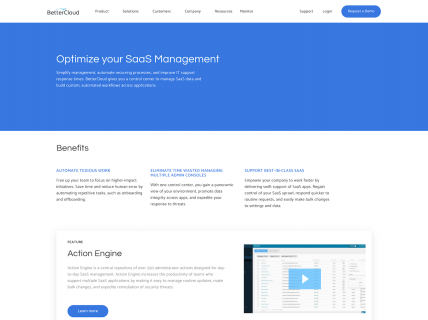 Screenshot of the Product – Manage page from the Better Cloud website.