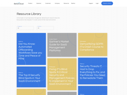 Screenshot of the Resources page from the Better Cloud website.