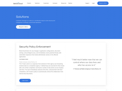 Screenshot of the Solutions page from the Better Cloud website.