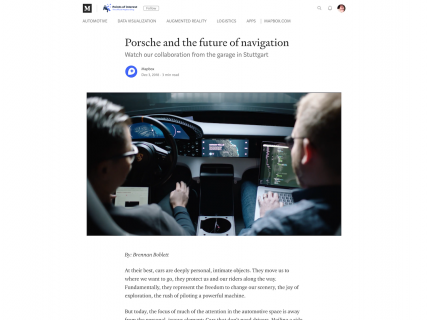 Screenshot of the Blog - Article page from the Mapbox website.