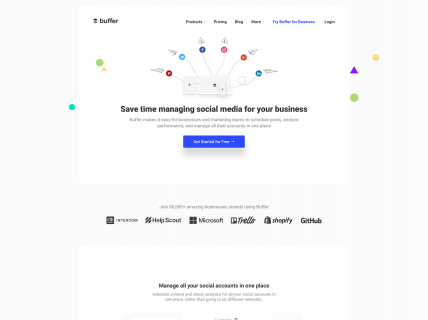 Screenshot of the Home page from the Buffer website.