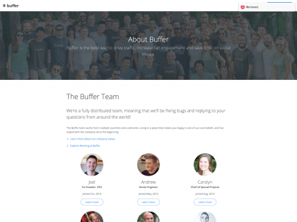 Screenshot of the About page from the Buffer website.