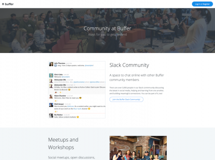 Screenshot of the Community page from the Buffer website.