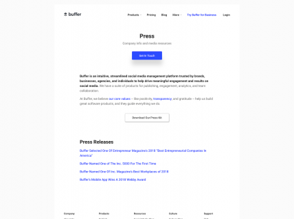 Screenshot of the Press page from the Buffer website.