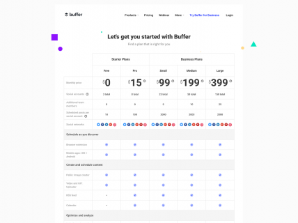 Screenshot of the Pricing page from the Buffer website.