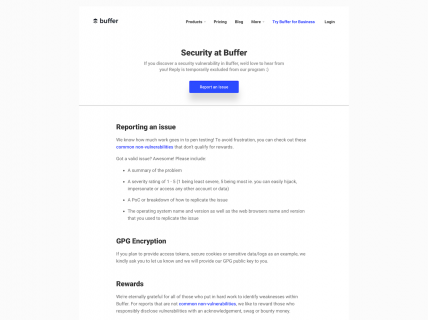 Screenshot of the Security page from the Buffer website.