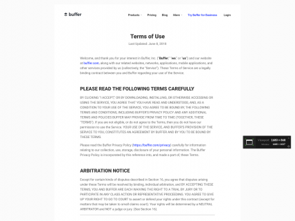 Screenshot of the Terms of Use page from the Buffer website.