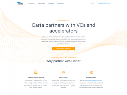 Screenshot of the Partners - VC page from the Carta website.