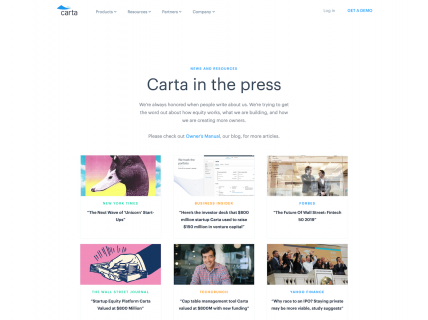 Screenshot of the Press page from the Carta website.