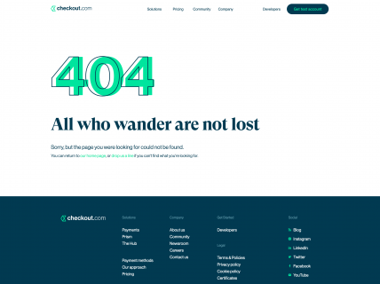Screenshot of the 404 page from the Checkout website.