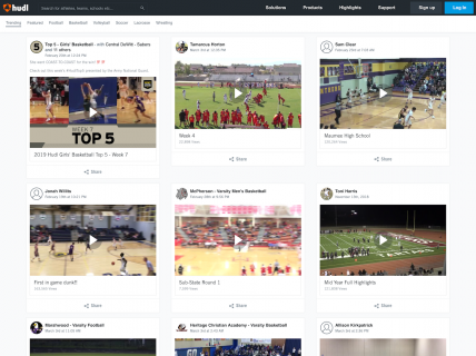 Screenshot of the Explore page from the Hudl website.