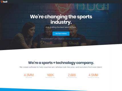 Screenshot of the Jobs page from the Hudl website.
