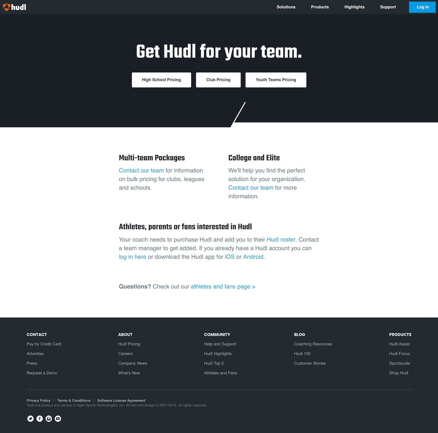 Screenshot of the Pricing page from the Hudl website.