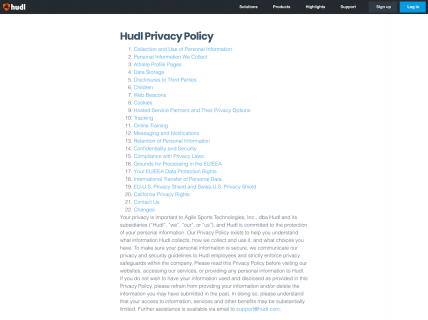 Screenshot of the Privacy page from the Hudl website.