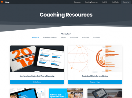 Screenshot of the Resources page from the Hudl website.