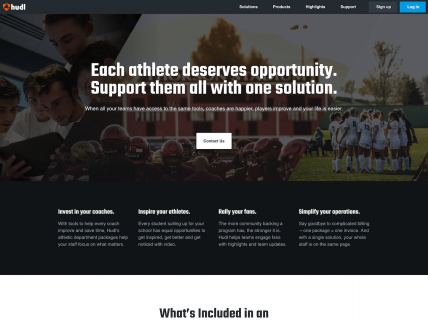 Screenshot of the Solutions page from the Hudl website.