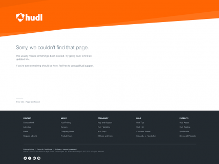 Screenshot of the 404 page from the Hudl website.