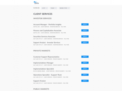 Screenshot of the Jobs page from the Carta website.