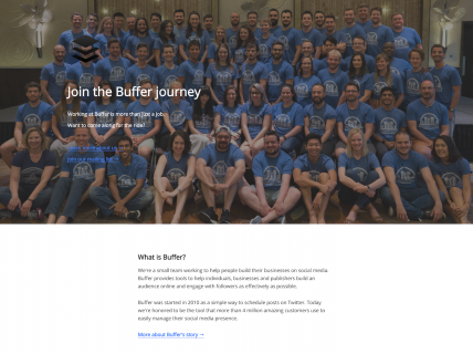 Screenshot of the Careers page from the Buffer website.