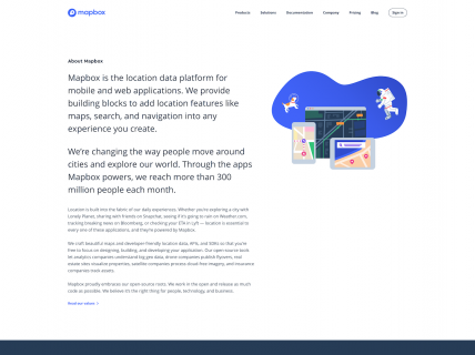 Screenshot of the About page from the Mapbox website.