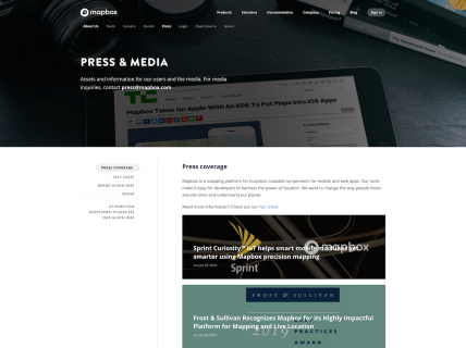 Screenshot of the Press & Media page from the Mapbox website.