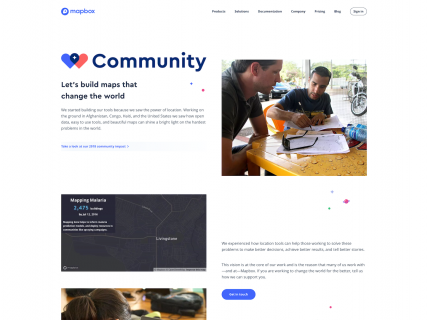 Screenshot of the Community page from the Mapbox website.