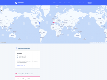 Screenshot of the Events page from the Mapbox website.