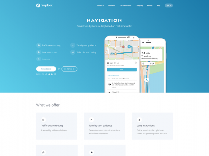 Screenshot of the Navigation page from the Mapbox website.