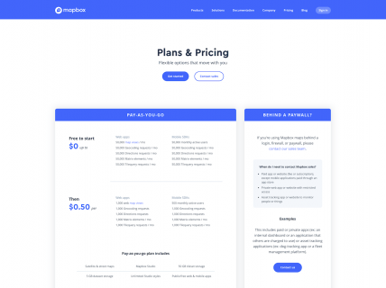 Screenshot of the Plans & Pricing page from the Mapbox website.