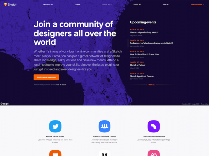 Screenshot of the Community page from the Sketch website.
