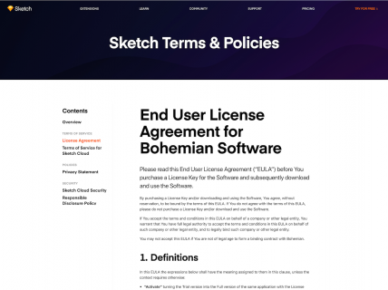 Screenshot of the Terms & Policies page from the Sketch website.