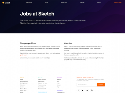 Screenshot of the Jobs page from the Sketch website.