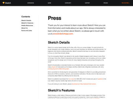 Screenshot of the Press page from the Sketch website.