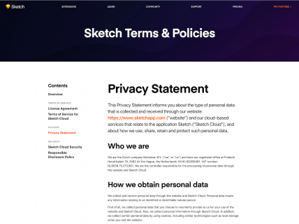 Screenshot of the Privacy Policy page from the Sketch website.