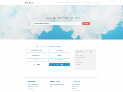 Screenshot of the Support page from the Better Cloud website.