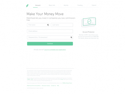 Screenshot of the Sign Up – Step 1 page from the Robinhood website.