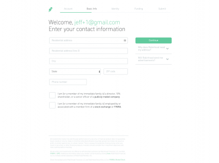 Screenshot of the Sign Up – Step 2 page from the Robinhood website.