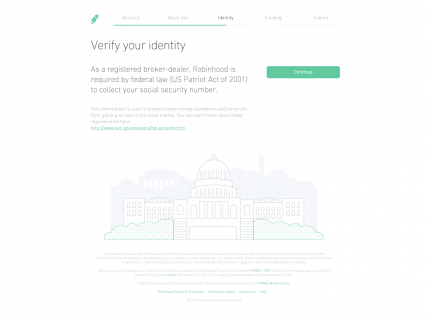 Screenshot of the Sign Up – Step 3 page from the Robinhood website.