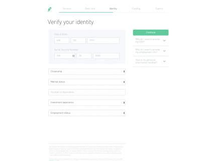 Screenshot of the Sign Up – Step 4 page from the Robinhood website.