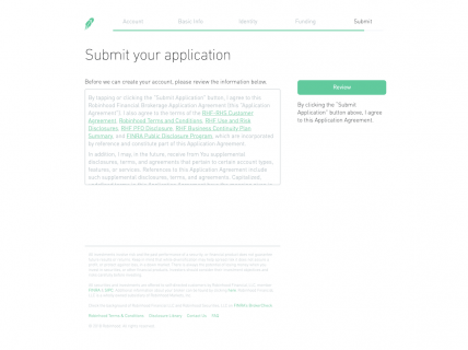 Screenshot of the Sign Up – Step 7 page from the Robinhood website.