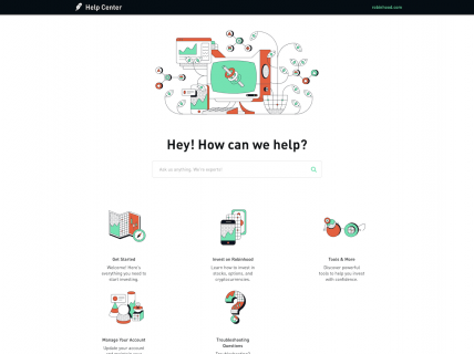 Screenshot of the Support page from the Robinhood website.