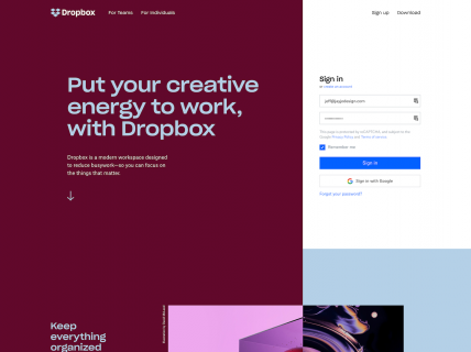 Screenshot of the Home page from the Dropbox website.