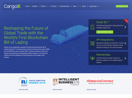 Screenshot of the Home page from the CargoX website.